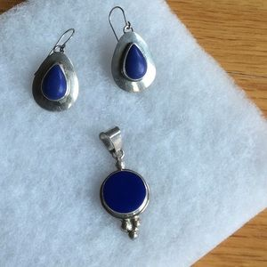 Jewelry - Lapis & sterling earrings and pendant set.